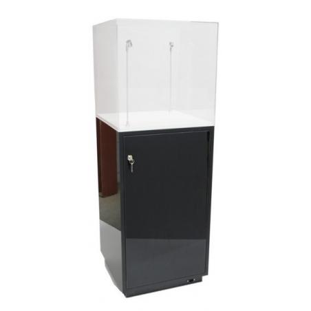 Galeriesockel schwarz Glanz mit Tür, 40 x 40 x 100 cm (LxBxH)
