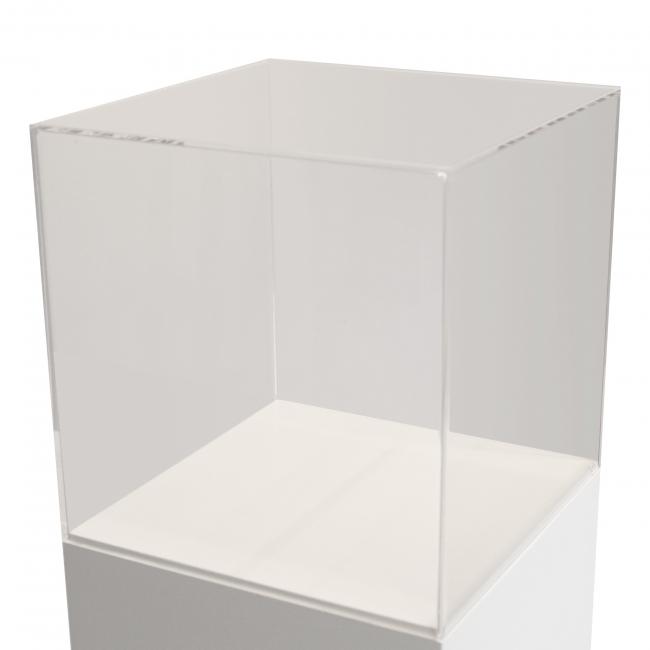 Vitrinenhaube aus extra transparentem 4mm-Acrylglas, 35 x 35 x 35 cm (LxBxH), Kanten poliert & geschliffen